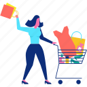 cart, character, sale, shopping, woman icon