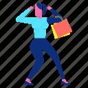 bag, happy, joy, sale, shopping, woman icon