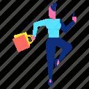 bag, happy, joy, shopping, smartphone, woman icon