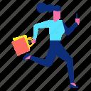 bag, happy, run, shopping, smartphone, woman icon