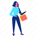 bag, shopping, stand, woman icon