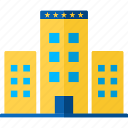 accommodation, building, hotel, silhouette, stars, travel, windows icon
