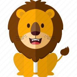 animals, cartoon, cute, lion, sitting, wild, wildlife icon