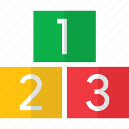 colorful, number, numbers, one, three, two icon