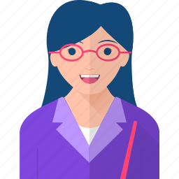 girl, glasses, happy, occupations, pointer, teacher, young icon