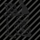 desk, bike, standing desk, work