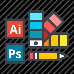 color, design, illustrator, pencil, photoshop, tools, work icon