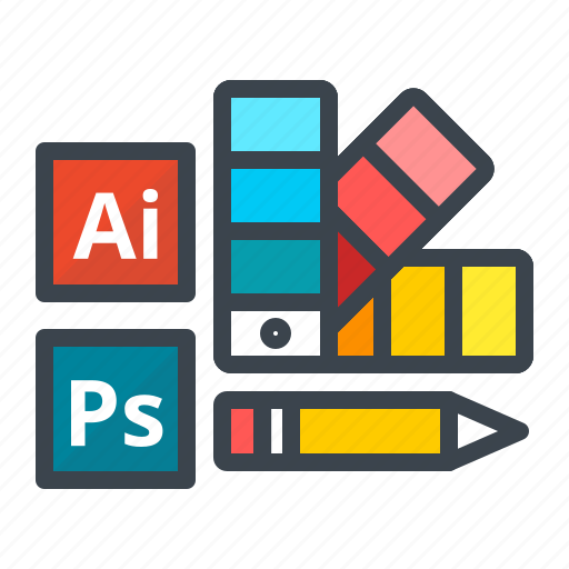 color, design, illustrator, pencil, photoshop, tools, work icon