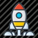 code, developer, development, idea, rocket, startup, work icon