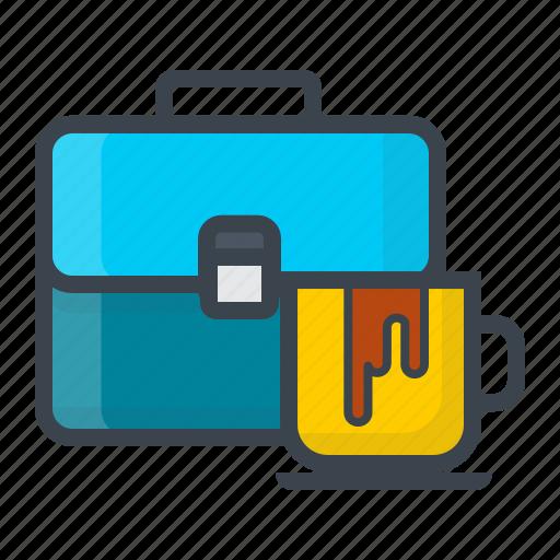 coffee, idea, meeting, portfolio, project, suitcase, work icon