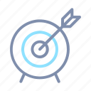 accomplishment, achievement, arrow, ethic, target, work icon