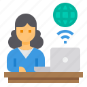 home, office, online, studio, woman, work, work from home icon