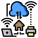 cloud, home, notebook, printer, work