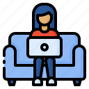 freelance, freelancer, home, sofa, work, work from home, working icon
