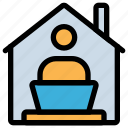 building, distant, home, job, office, remote, work icon
