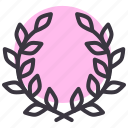 leaves, nature, spring, wreath icon