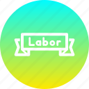 banner, day, labor, worker icon