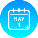 calendar, day, holiday, labor, labour, may, worker icon
