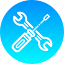 mechanic, screwdriver, spanner, tools icon