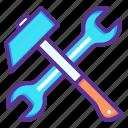 hammer, repair, spanner, tools
