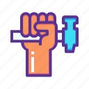 hammer, hand, labor, mechanic, rights, strength, unity icon