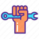 hand, labor, mechanic, rights, spanner, strength, unity icon