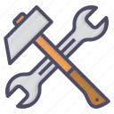 hammer, repair, spanner, tools icon