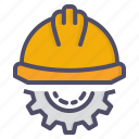 construction, gear, helmet, labour icon