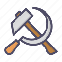 communist, hammer, labor, labour, may, sickle, worker icon