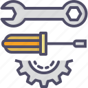 gear, labor, screwdriver, spanner icon