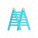 cartoon, job, ladder, sign, stair, step, tool icon