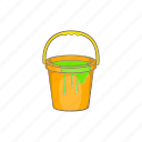 bucket, cartoon, design, liquid, paint, painter, sign icon