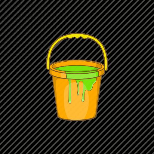 bucket, cartoon, design, liquid, paint, painter, sign icon