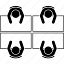 desk, four, office, people, seating, top view, workplace icon