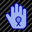 awareness, hand, ribbon, stop icon
