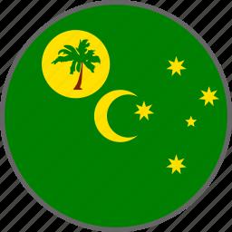 cocos, cocos island, country, flag icon