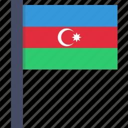 azerbaijan, country, european, flag, national icon