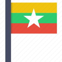 asian, burma, burmese, country, flag, myanmar, national icon