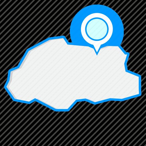 bhutanmaps, country, map, world icon