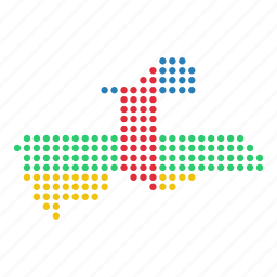 african, central, country, location, map, republic icon