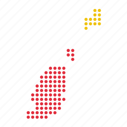 country, grenada, grenadian, location, map icon