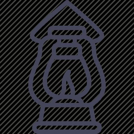 camping, kerosene, lamp, lantern, light, lightning, night icon