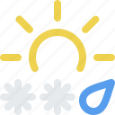 day, ice, mix, rain, sleet, snow, storm, sun, weather icon