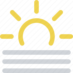 day, fog, foggy, haze, sun, weather icon