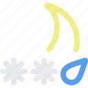 ice, mix, moon, night, rain, sleet, snow, storm, weather icon