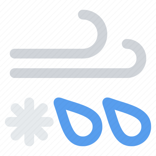 ice, mix, rain, sleet, snow, storm, weather, wind, windy icon