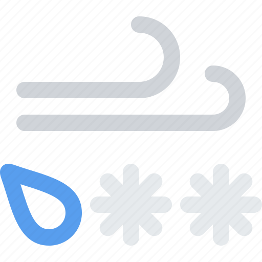 breeze, breezy, ice, mix, rain, sleet, snow, storm, weather, wind, windy icon