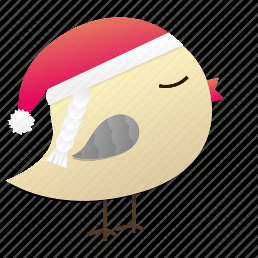 birdy, christmas, cute, santa, winter icon