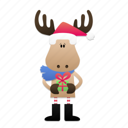 christmas, deer, elk, fun, gift, santa icon