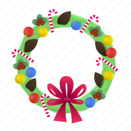christmas, decoration, winter, wreath icon